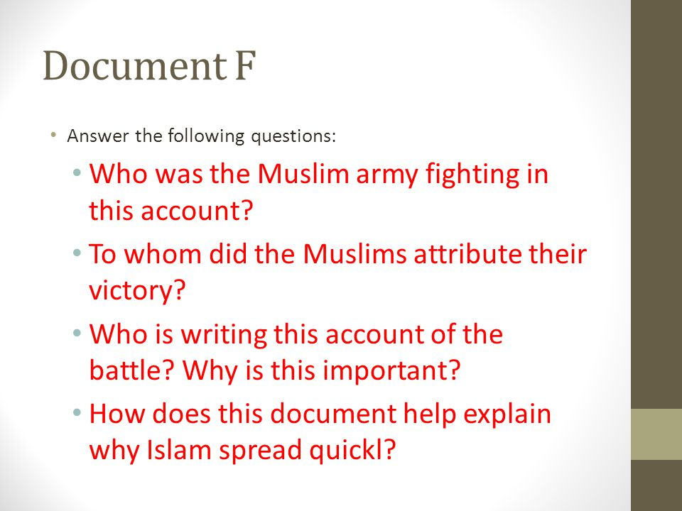 Document F Who was the Muslim army fighting in this account
