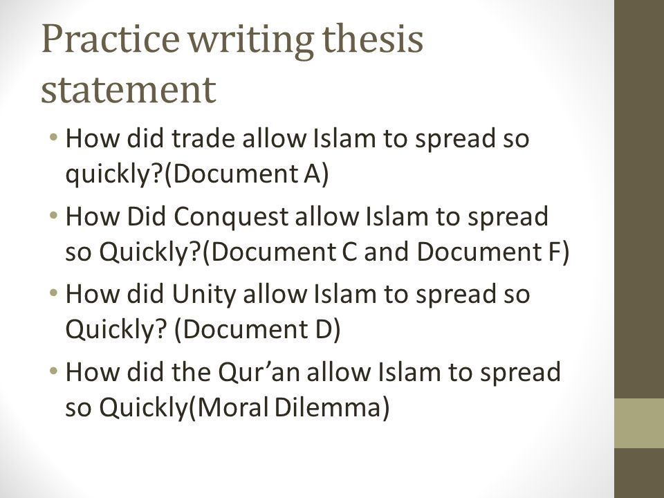 Practice writing thesis statement