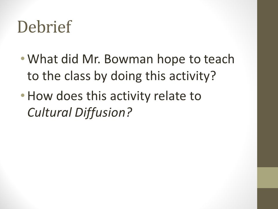 Debrief What did Mr. Bowman hope to teach to the class by doing this activity.