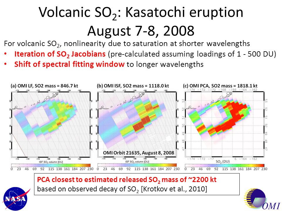 Volcanic SO2: Kasatochi eruption August 7-8, 2008