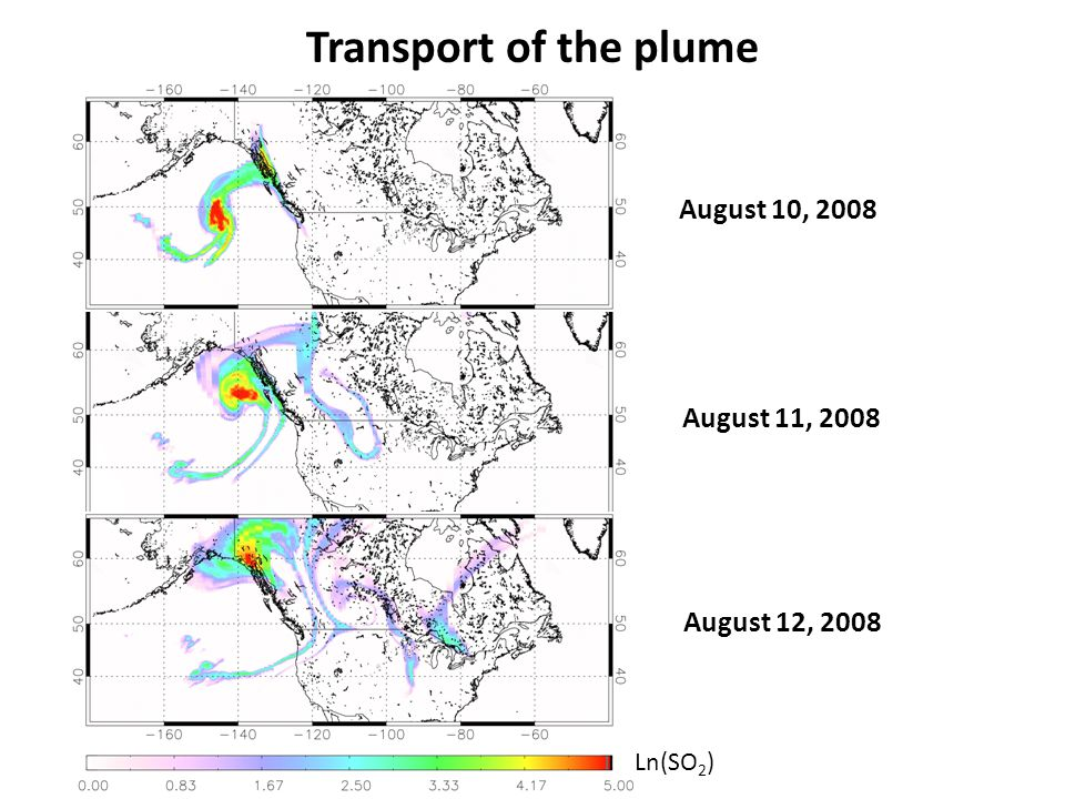 Transport of the plume August 10, 2008 August 11, 2008 August 12, 2008