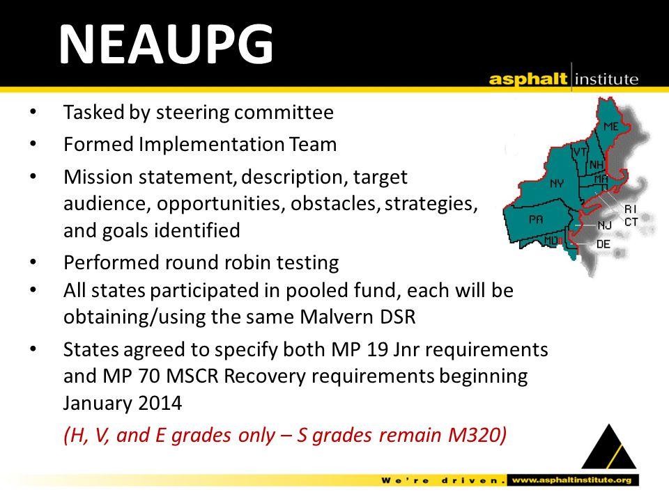 NEAUPG Tasked by steering committee Formed Implementation Team