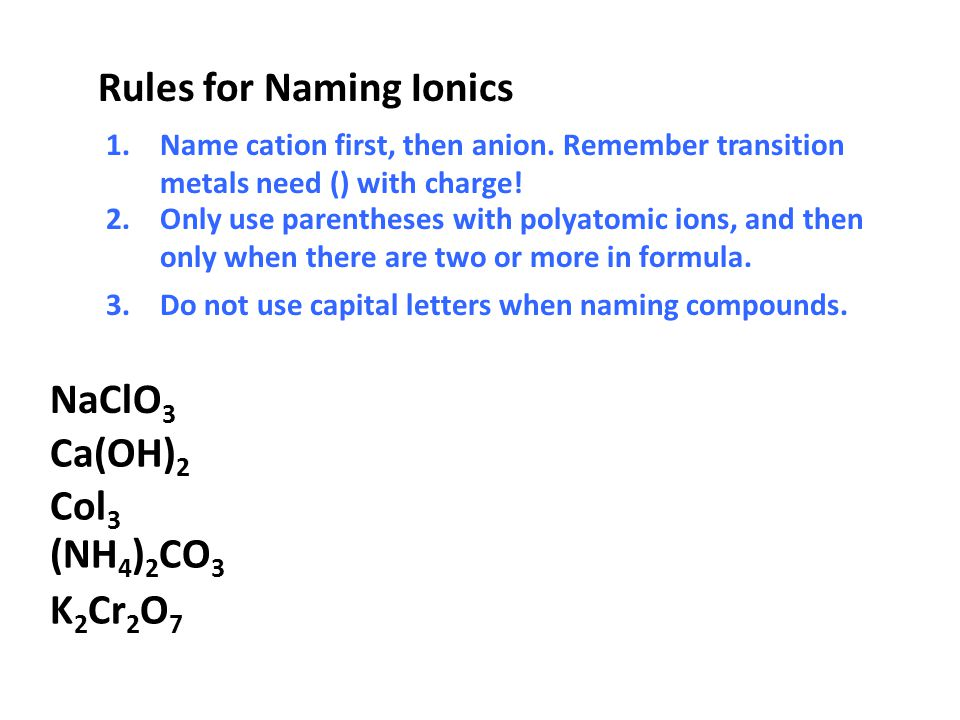 Rules for Naming Ionics
