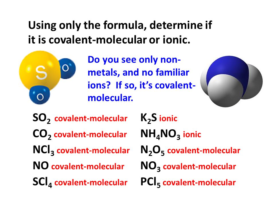 SO2 covalent-molecular K2S ionic CO2 covalent-molecular NH4NO3 ionic