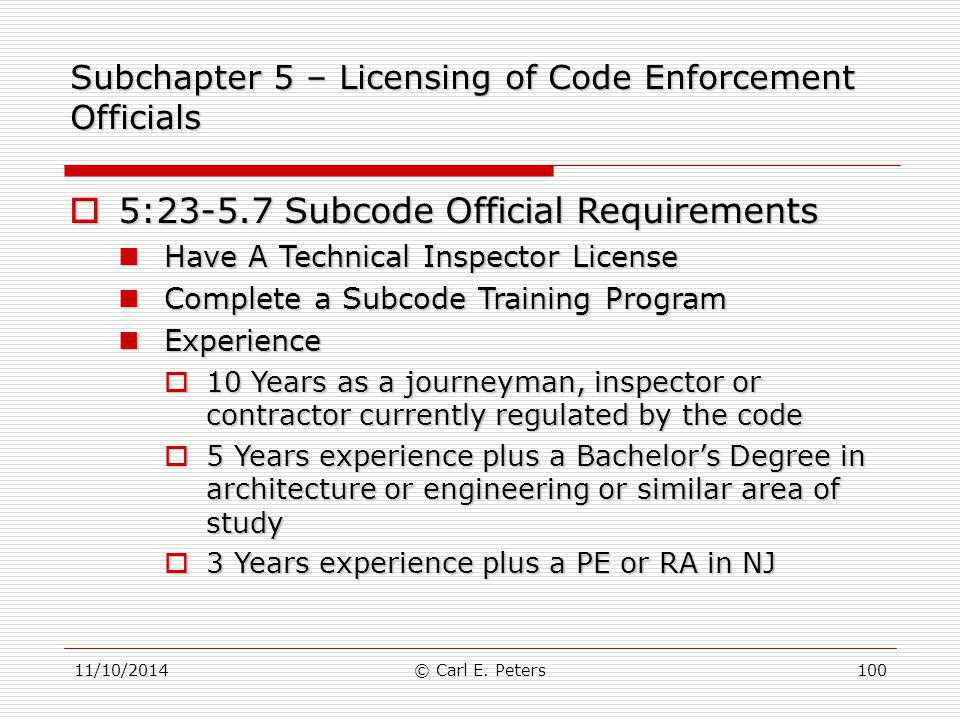 Subchapter 5 – Licensing of Code Enforcement Officials