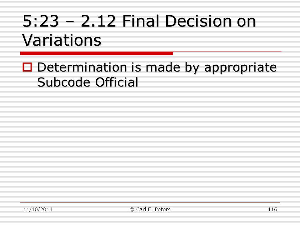 5:23 – 2.12 Final Decision on Variations