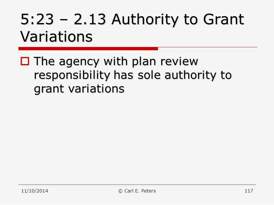 5:23 – 2.13 Authority to Grant Variations