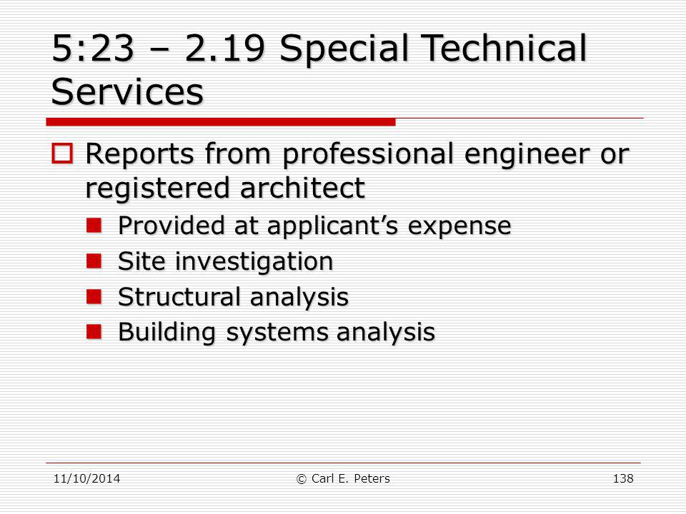 5:23 – 2.19 Special Technical Services