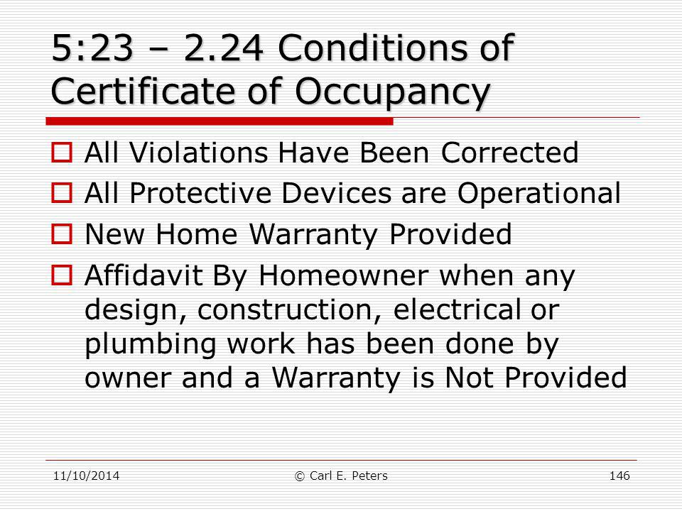 5:23 – 2.24 Conditions of Certificate of Occupancy