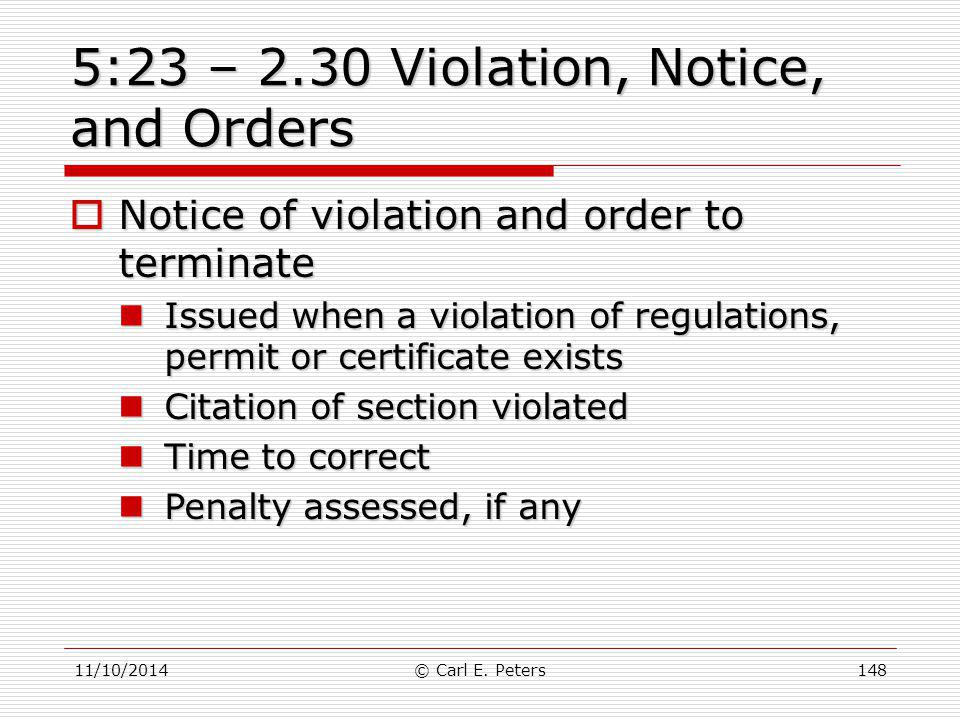 5:23 – 2.30 Violation, Notice, and Orders