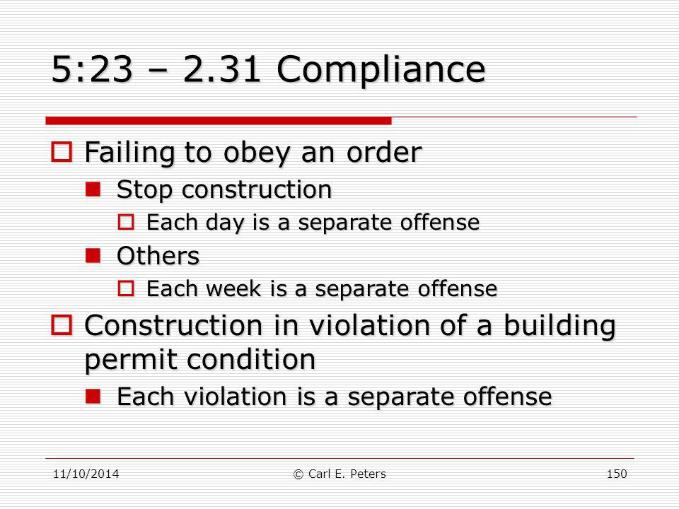 5:23 – 2.31 Compliance Failing to obey an order