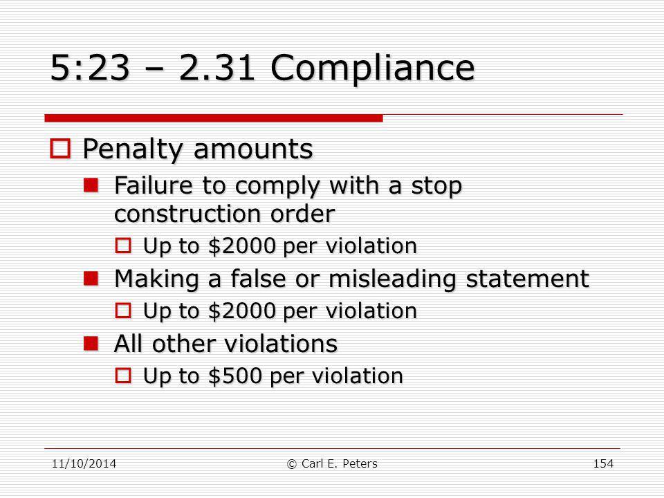 5:23 – 2.31 Compliance Penalty amounts