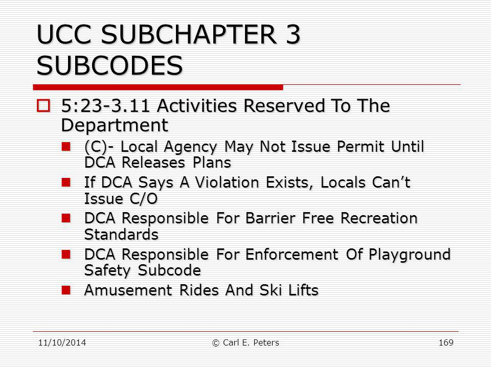 UCC SUBCHAPTER 3 SUBCODES