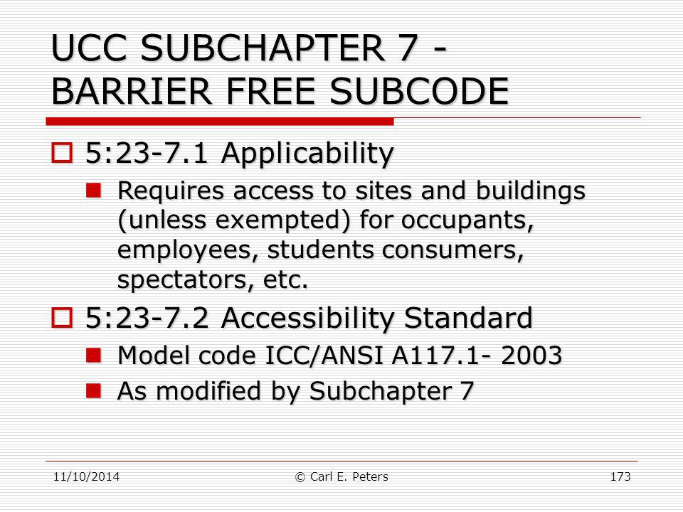 UCC SUBCHAPTER 7 - BARRIER FREE SUBCODE