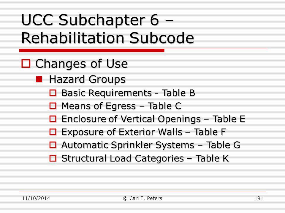 UCC Subchapter 6 – Rehabilitation Subcode