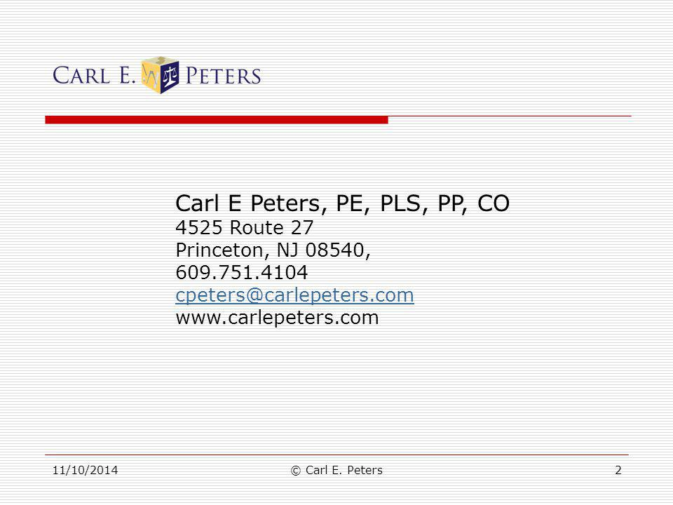 Carl E Peters, PE, PLS, PP, CO