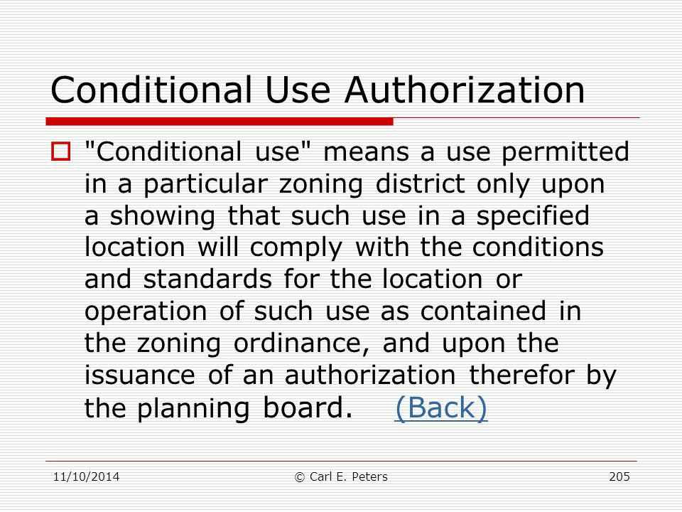 Conditional Use Authorization