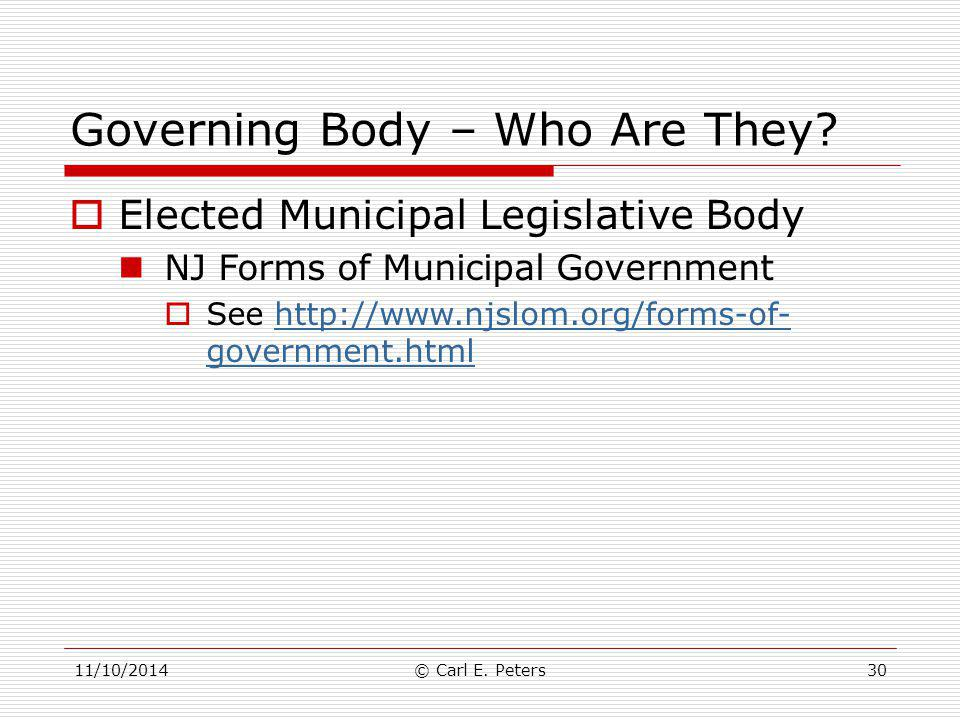 Governing Body – Who Are They