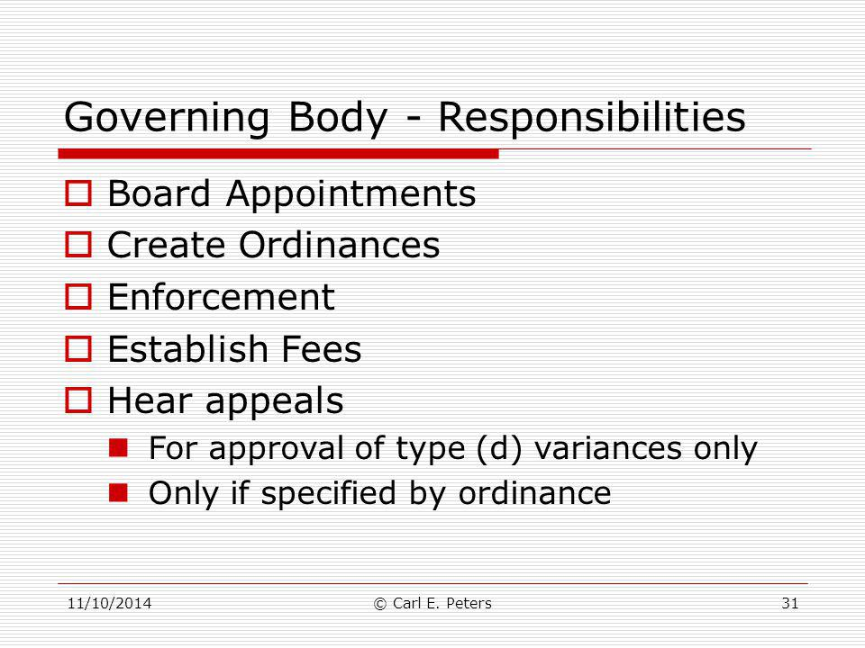Governing Body - Responsibilities