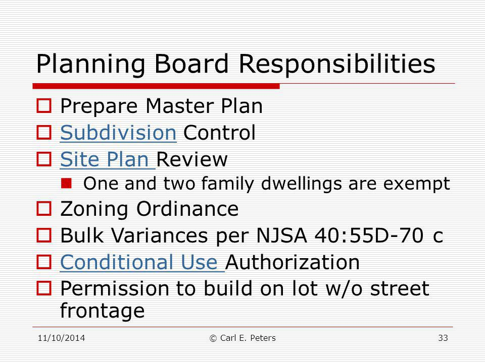 Planning Board Responsibilities