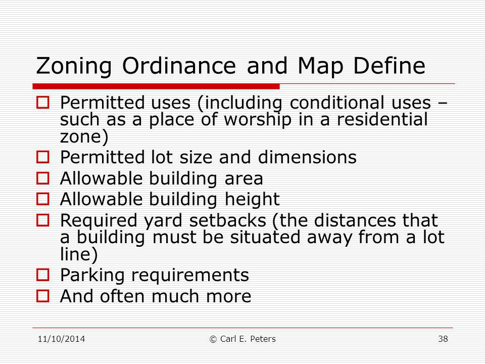 Zoning Ordinance and Map Define