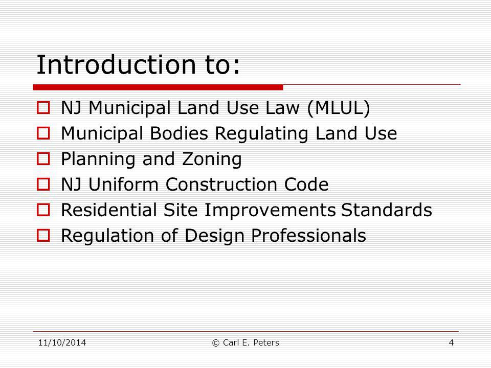 Introduction to: NJ Municipal Land Use Law (MLUL)