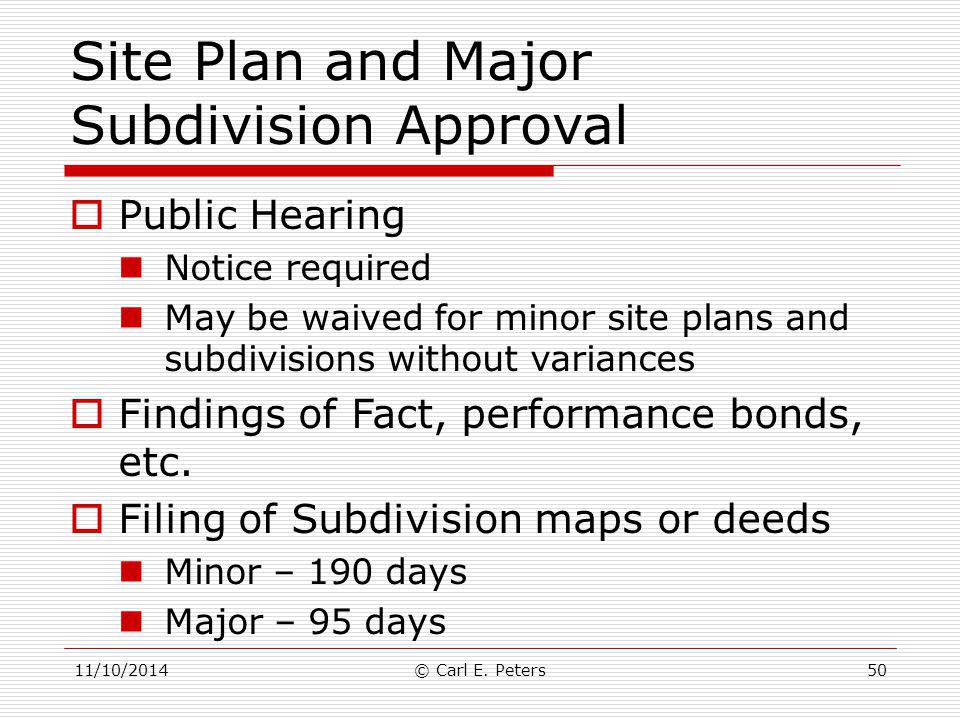 Site Plan and Major Subdivision Approval