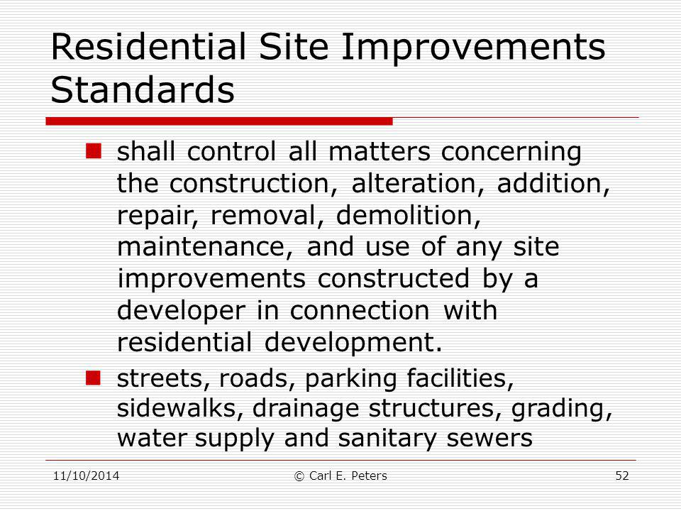 Residential Site Improvements Standards