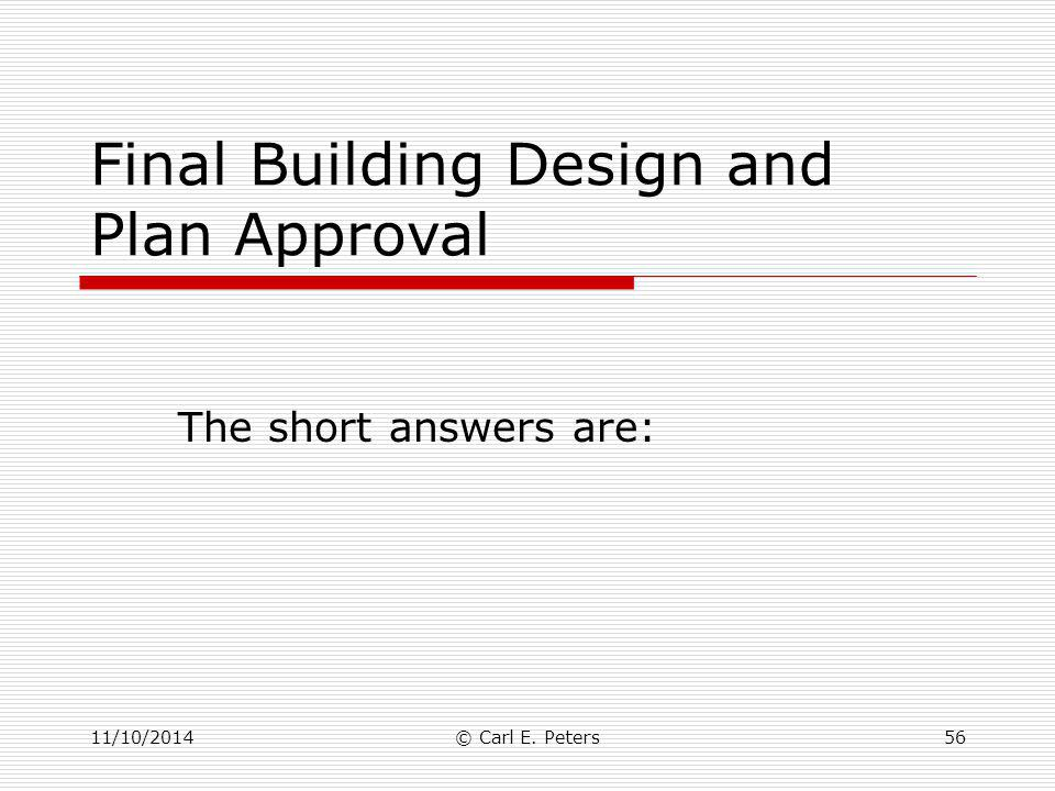Final Building Design and Plan Approval