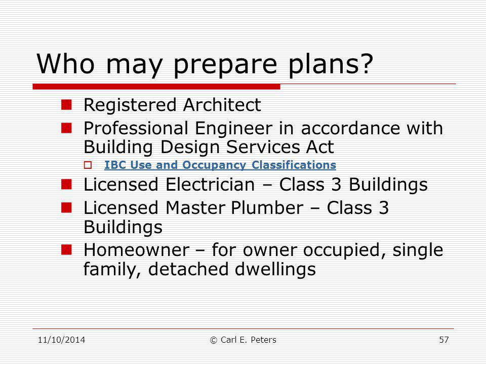 Who may prepare plans Registered Architect