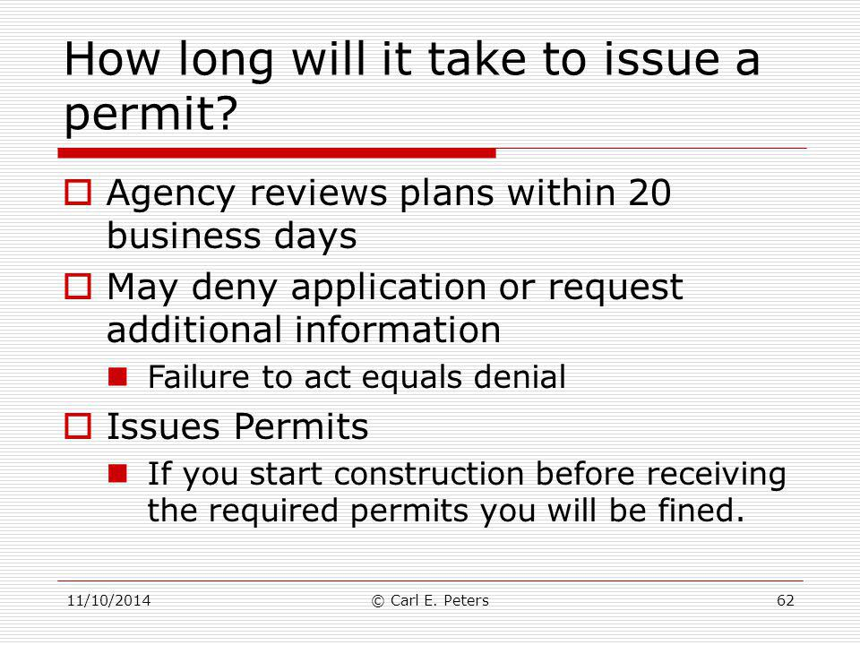How long will it take to issue a permit