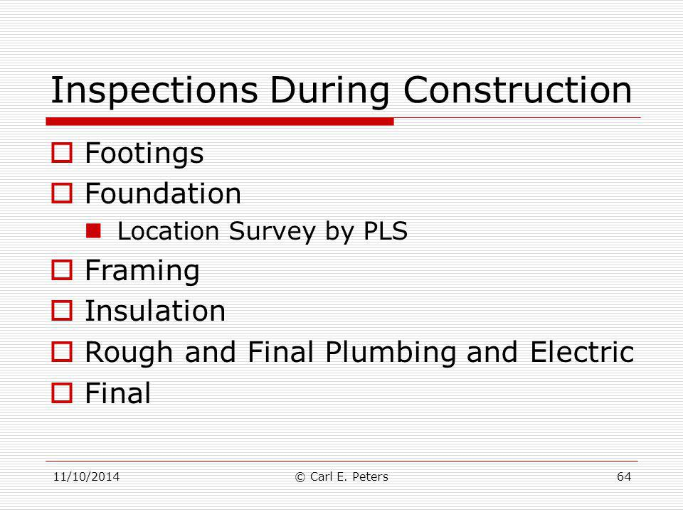 Inspections During Construction