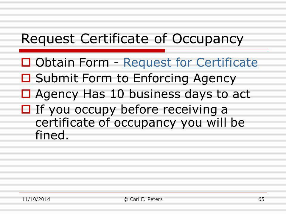 Request Certificate of Occupancy
