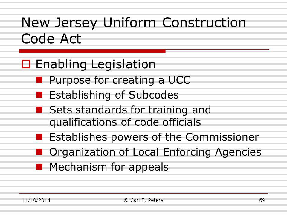 New Jersey Uniform Construction Code Act