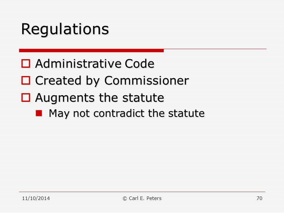 Regulations Administrative Code Created by Commissioner