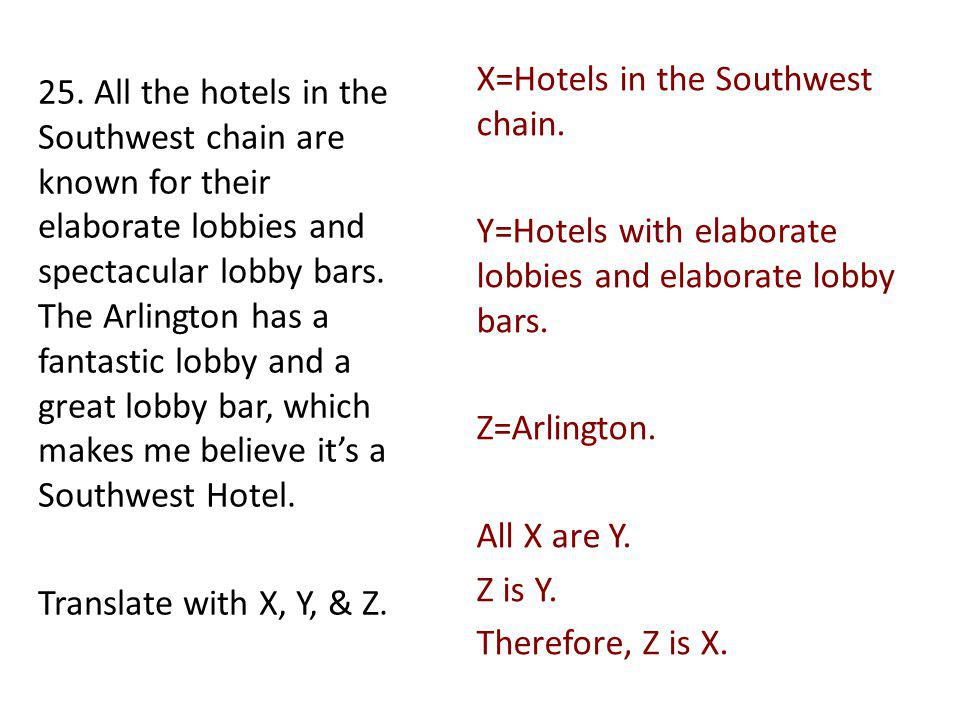 X=Hotels in the Southwest chain