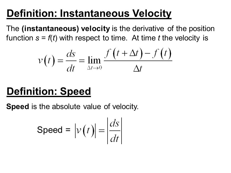 Definition: Instantaneous Velocity