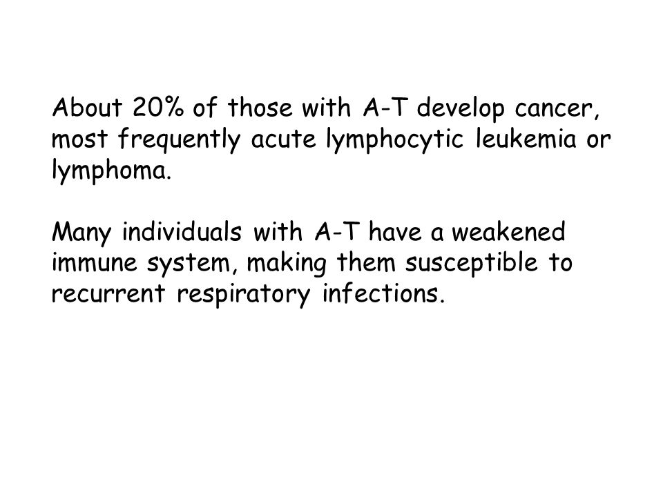 About 20% of those with A-T develop cancer, most frequently acute lymphocytic leukemia or lymphoma.