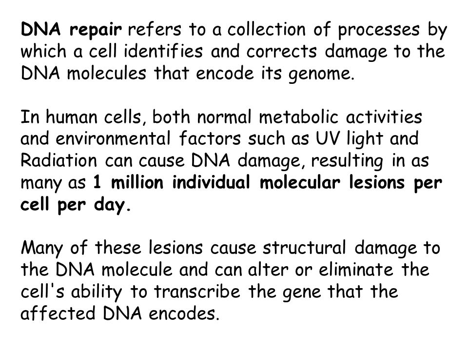 DNA repair refers to a collection of processes by which a cell identifies and corrects damage to the DNA molecules that encode its genome.