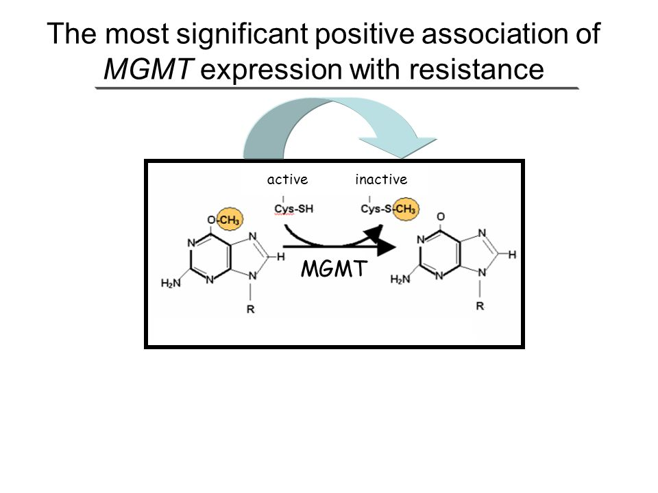 The most significant positive association of MGMT expression with resistance