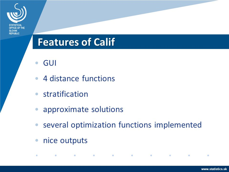Features of Calif GUI 4 distance functions stratification