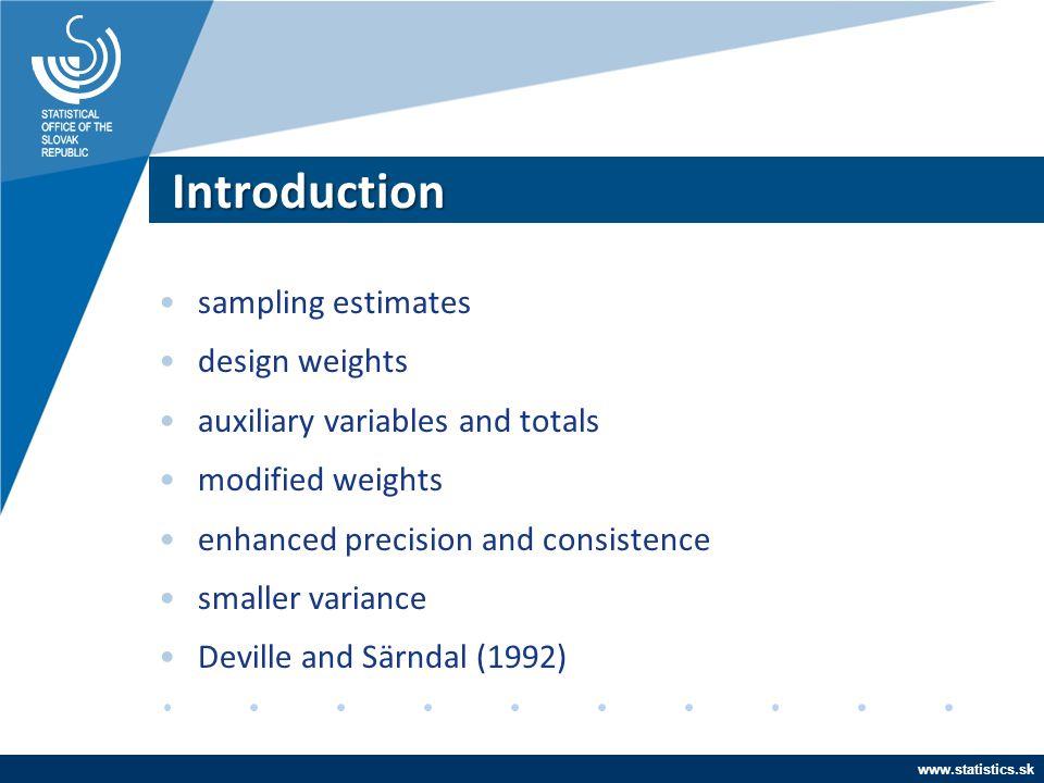 Introduction sampling estimates design weights