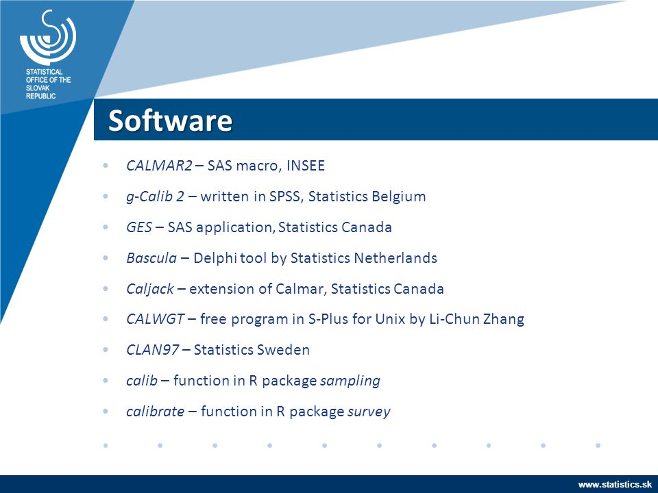 Software CALMAR2 – SAS macro, INSEE