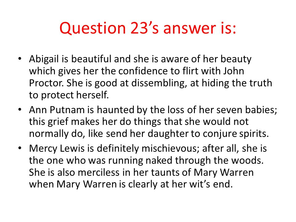 Question 23's answer is: