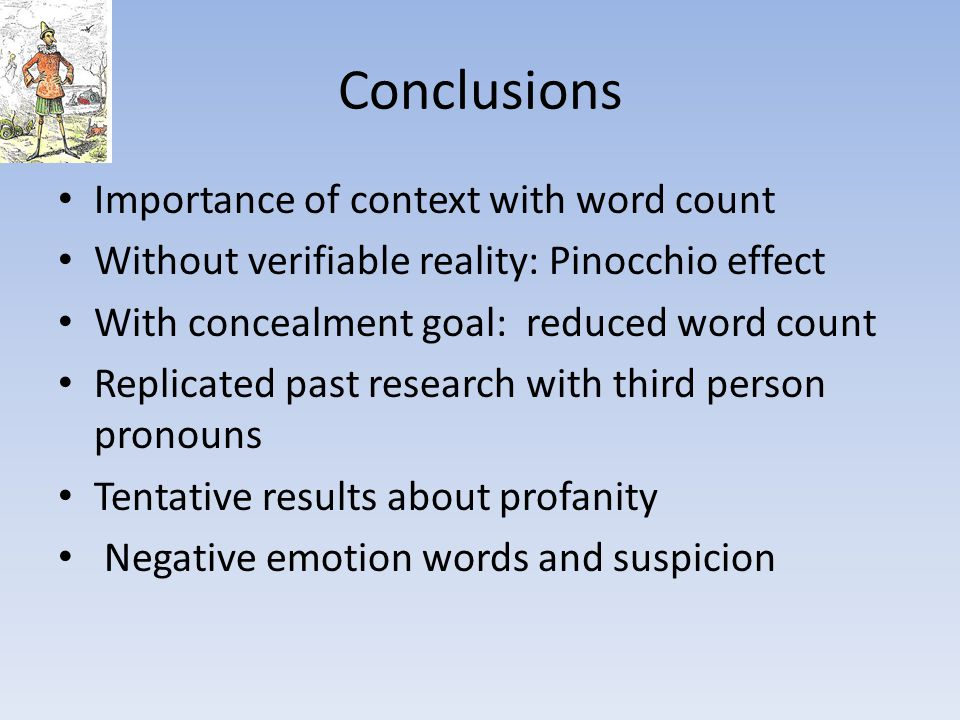 Conclusions Importance of context with word count