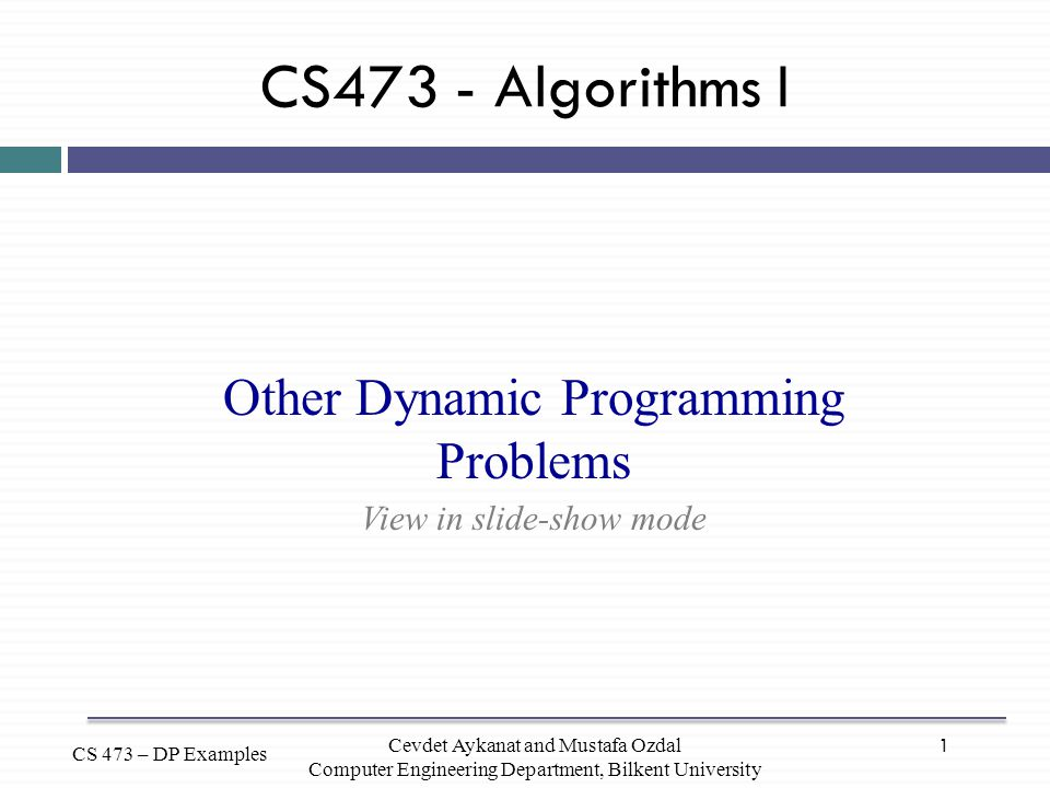 Other Dynamic Programming Problems