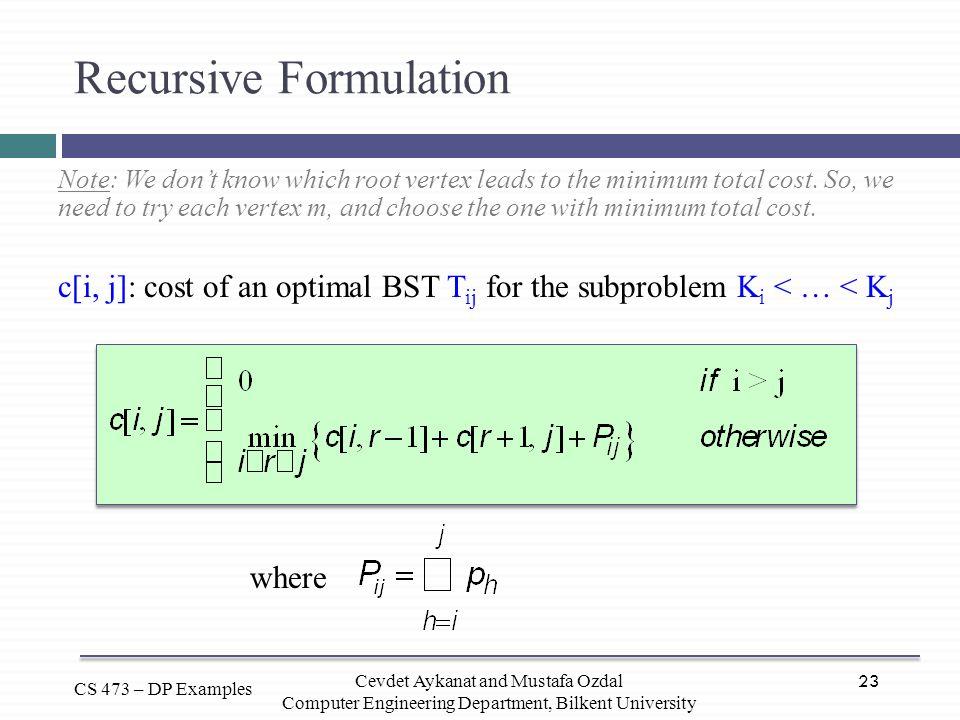 Recursive Formulation