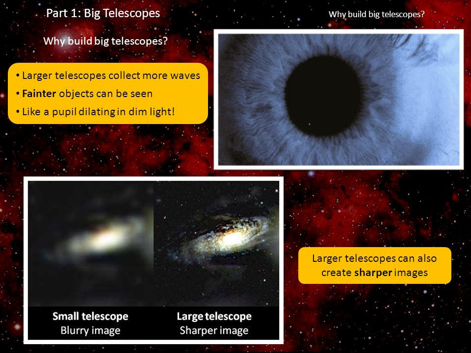 Part 1: Big Telescopes Why build big telescopes