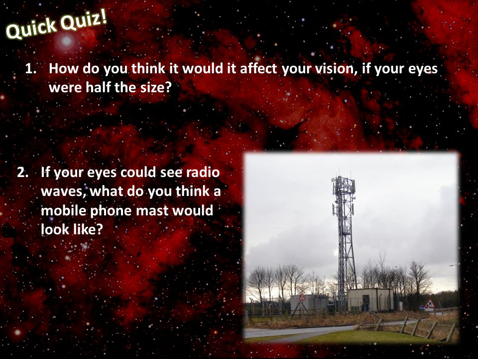 Quick Quiz! How do you think it would it affect your vision, if your eyes were half the size