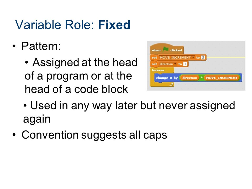 Variable Role: Fixed Pattern: Assigned at the head